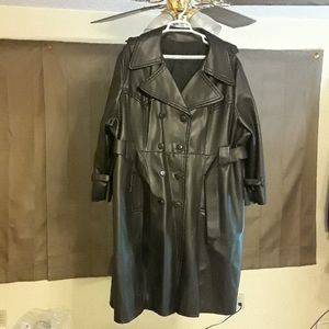 PVC/Vinyl Black Belted Double Breasted Trench Coat